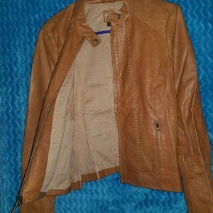 Gap whipstitched leather jacket